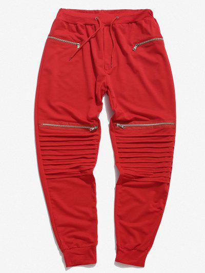Pleated Patch Knee Zipper Jogger Sweatpants - Red 3xl