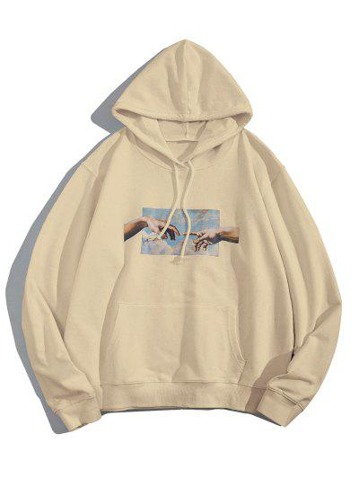Helping Hands Graphic Front Pocket Lounge Hoodie - Light Coffee L