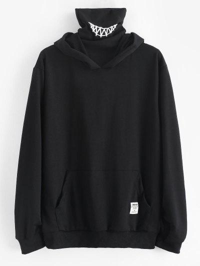 Kangaroo Pocket Letter Applique Double Collar Hoodie - Black S