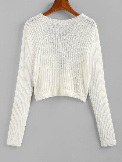 ZAFUL Open Back Ribbed Crop Jumper Sweater - White M
