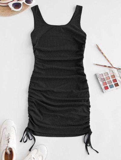 ZAFUL Ribbed Cinched Tank Dress - Black S