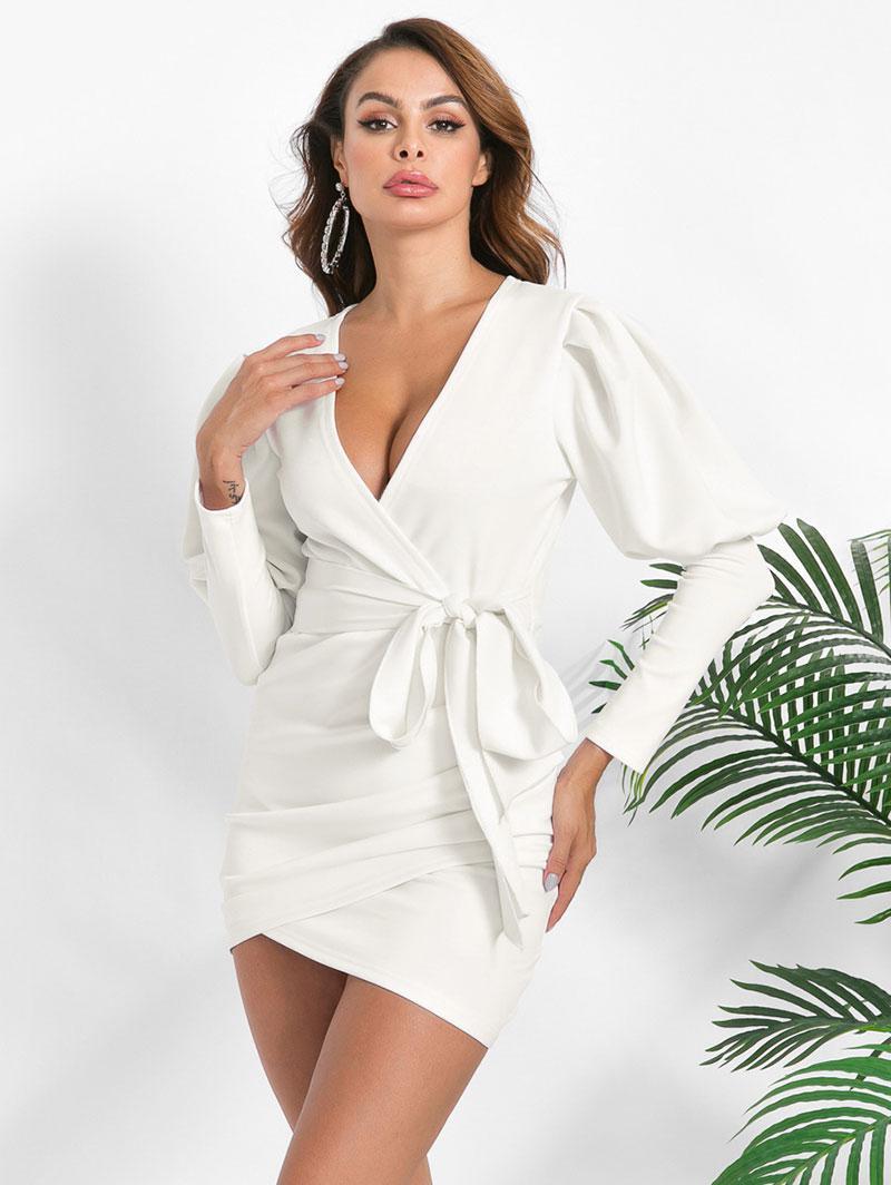 Surplice Tulip-hem Ruched Gigot Sleeve Bodycon Dress