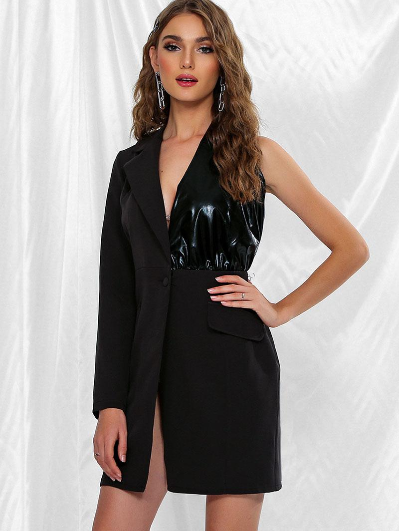 Coated Panel Asymmetrical One Shoulder Blazer