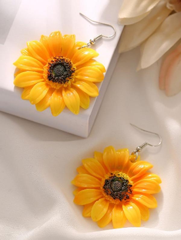 Sunflower Flower Drop Earrings