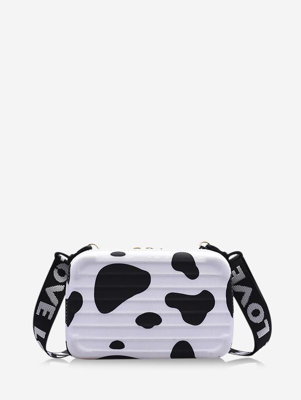 Cow Letter Print Box Crossbody Bag