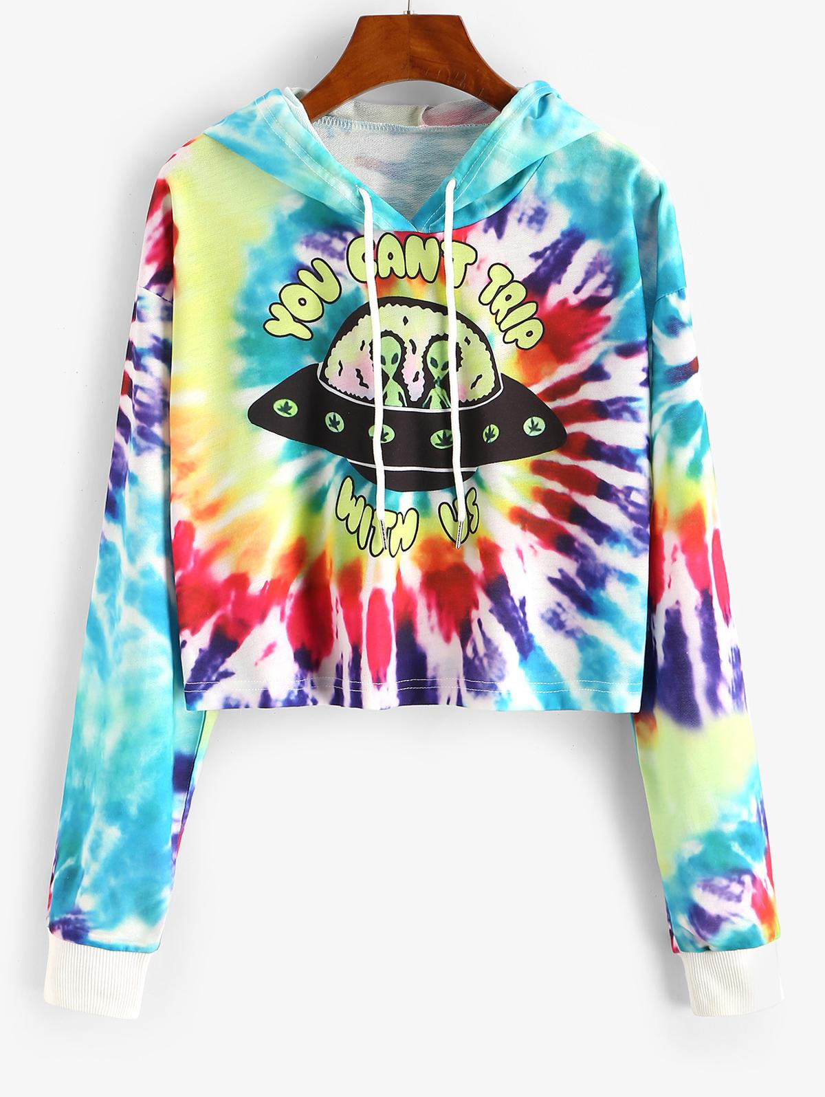 Tie Dye Funny Graphic Drop Shoulder Hoodie