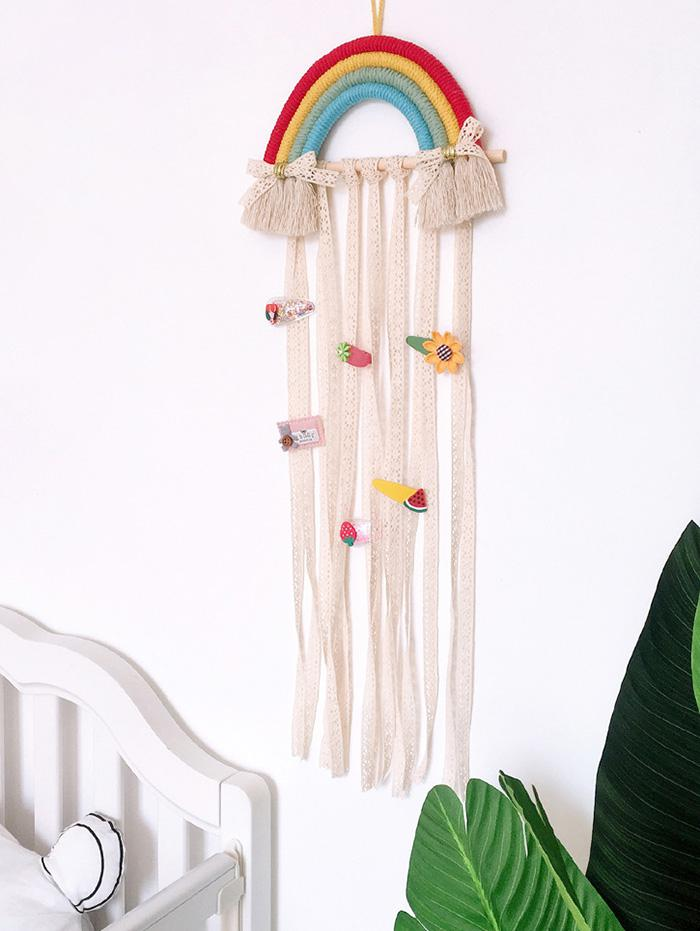 Home Decoration Rainbow Hairpin Holder Lace Wall Hanging