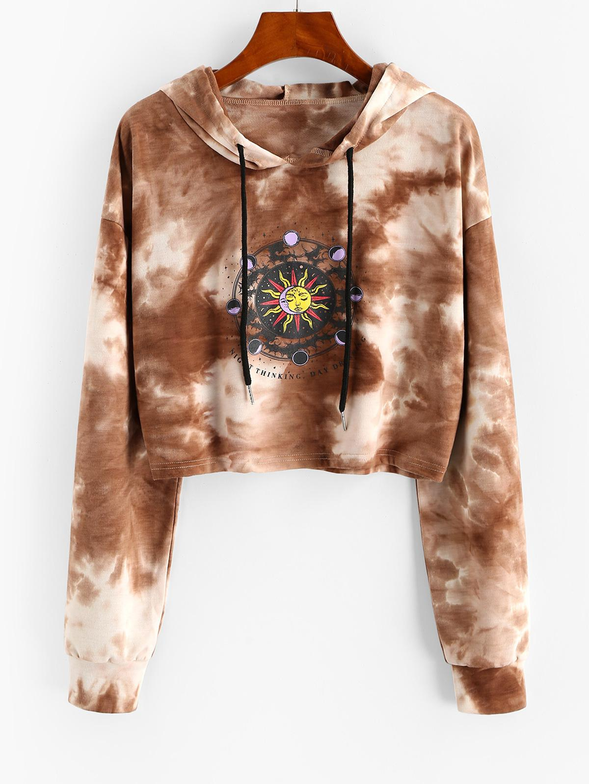 Tie Dye Moon and Sun Drop Shoulder Hoodie