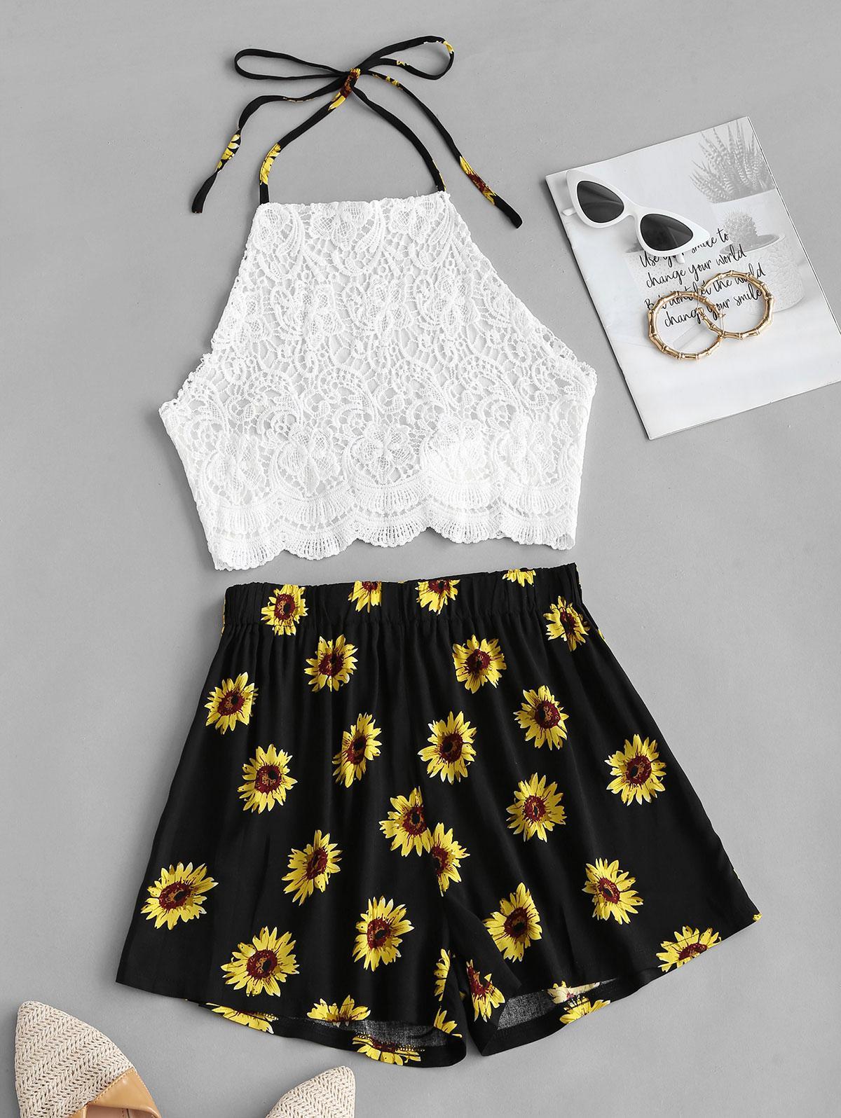 Crochet Lace Sunflower Halter Two Piece Set