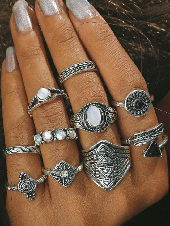 10 Piece Ethnic Engraved Rhinestone Wide Finger Rings Set