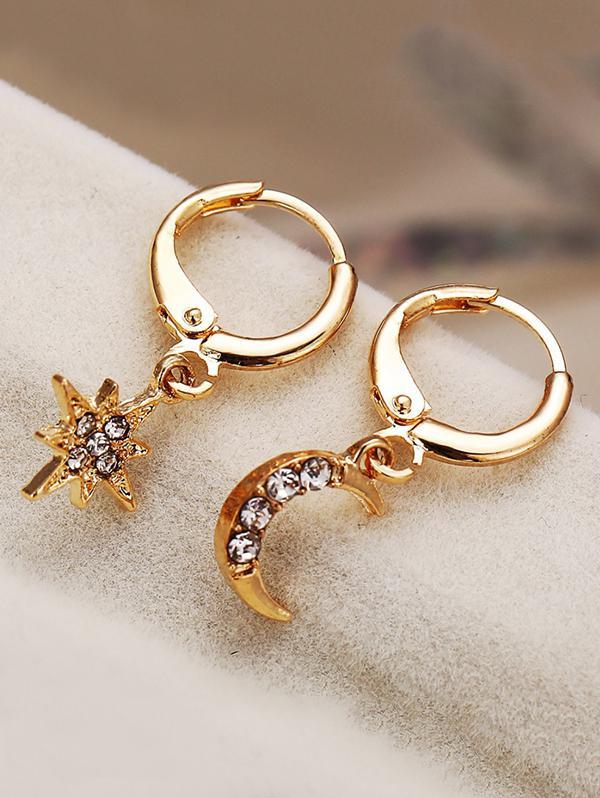 Star Moon Rhinestone Asymmetrical Clip Earrings
