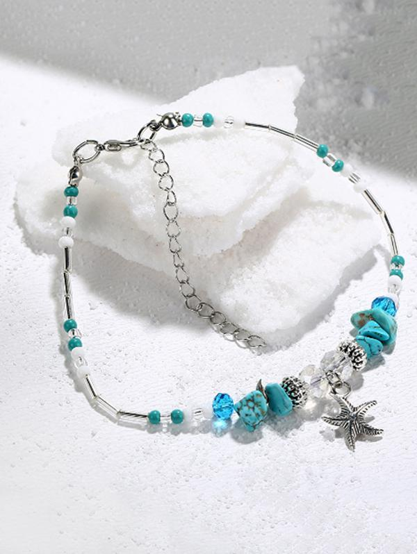 Starfish Shape Faux Turquoise Charm Anklet