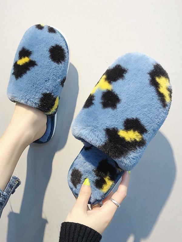 Leopard Print Plush Indoor Slippers