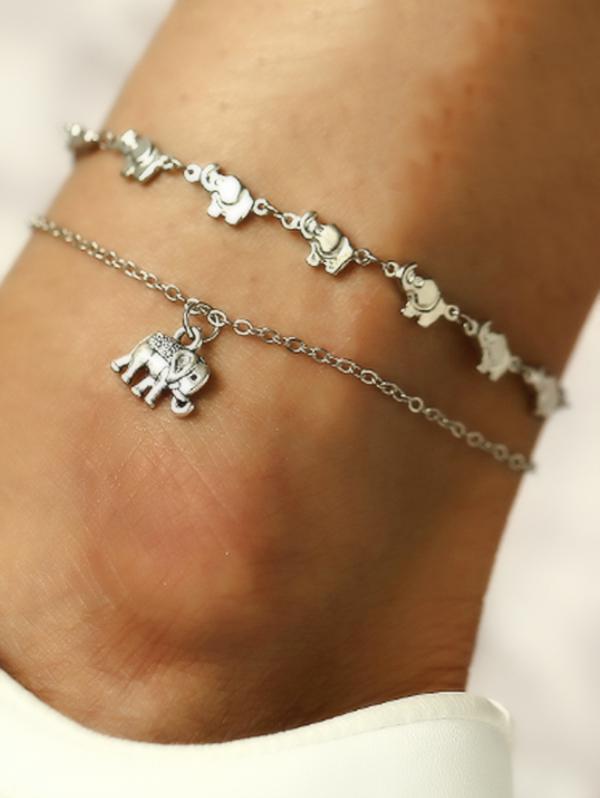 Elephant Layered Charm Anklet