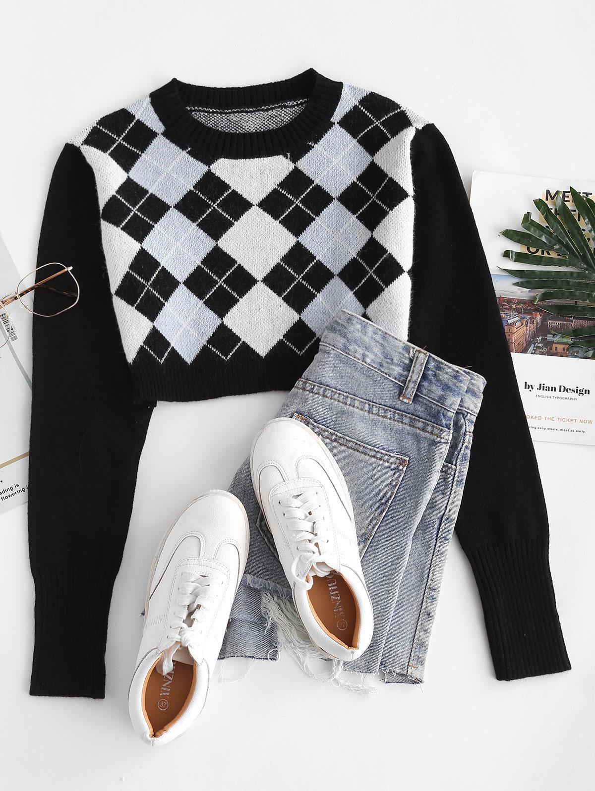 Argyle Crop Jumper Sweater