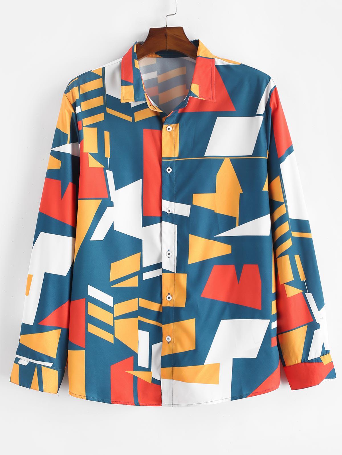 Geometric Print Button Up Shirt