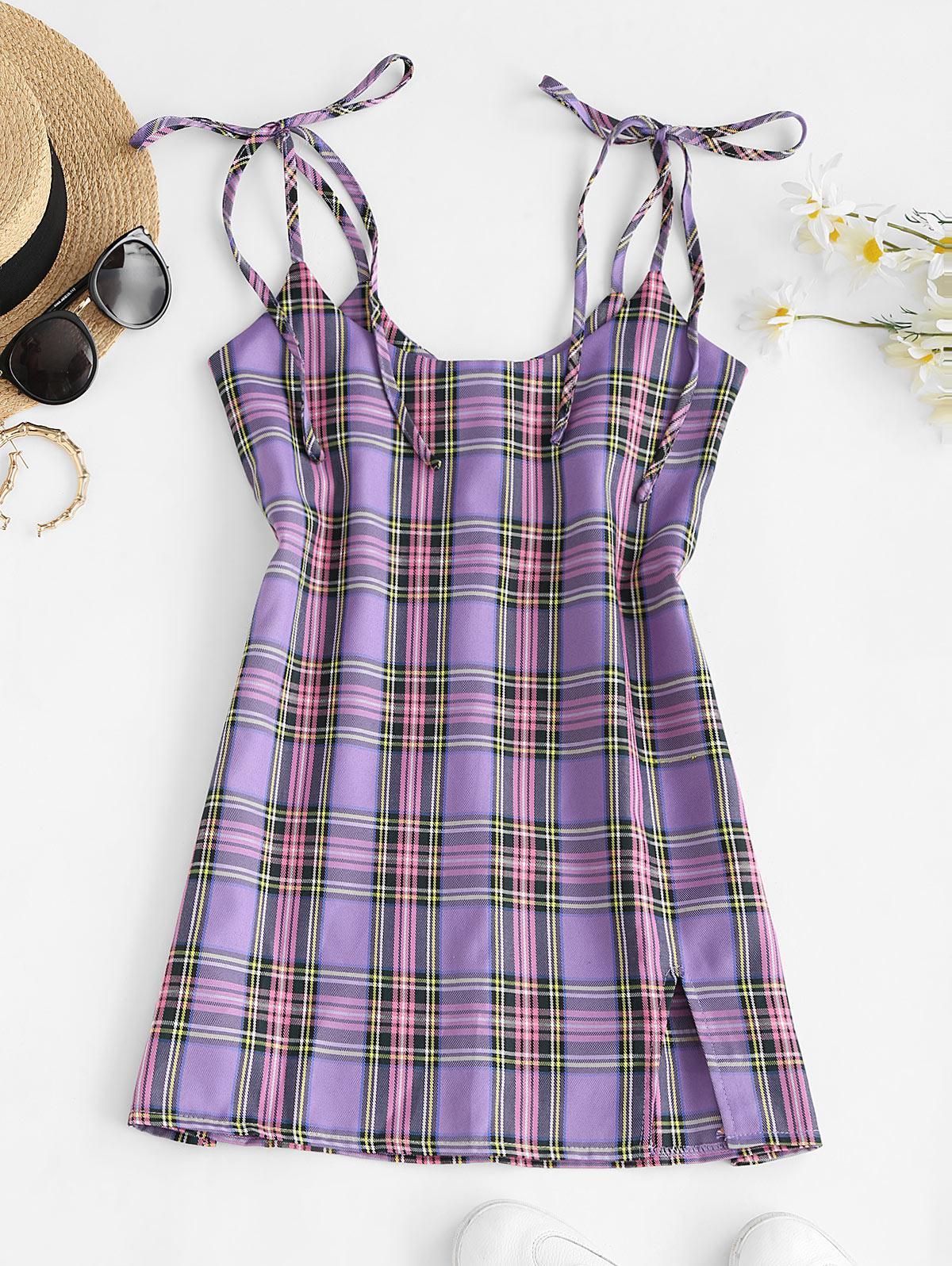 Tie Shoulder Front Slit Plaid Suspender Skirt