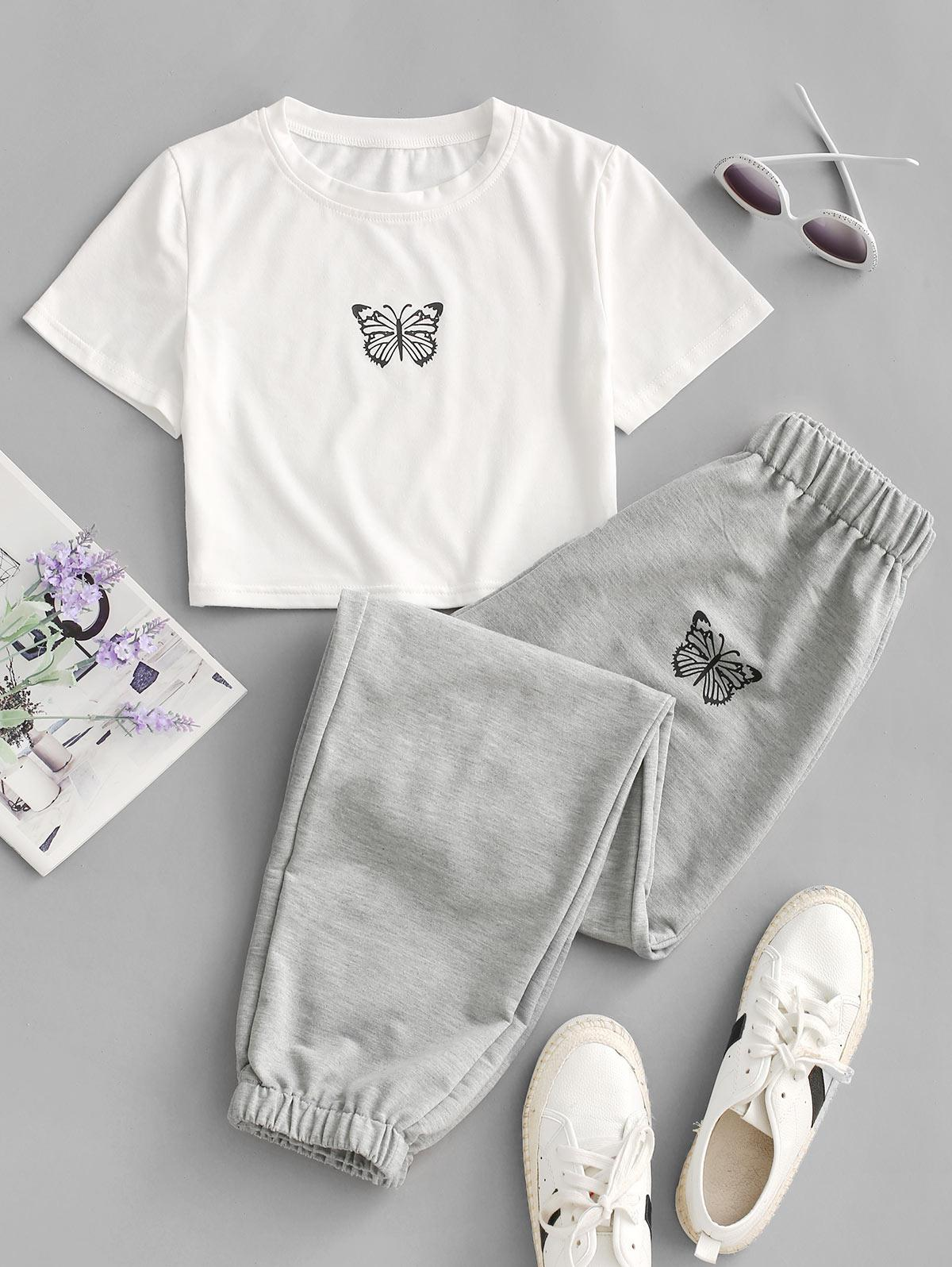 Butterfly Graphic Two Piece Jogger Pants Set