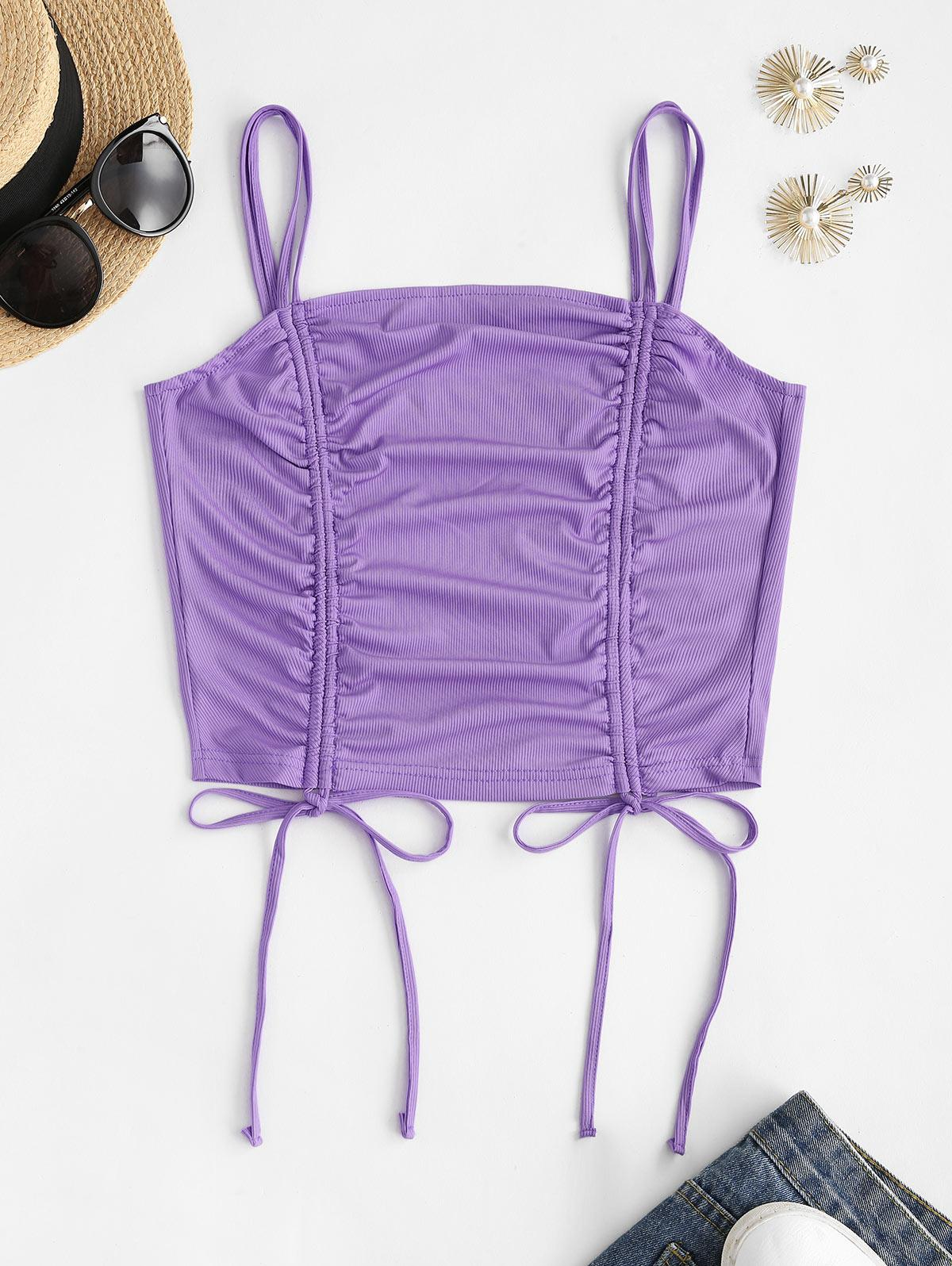 Strappy Ribbed Cinched Front Crop Top