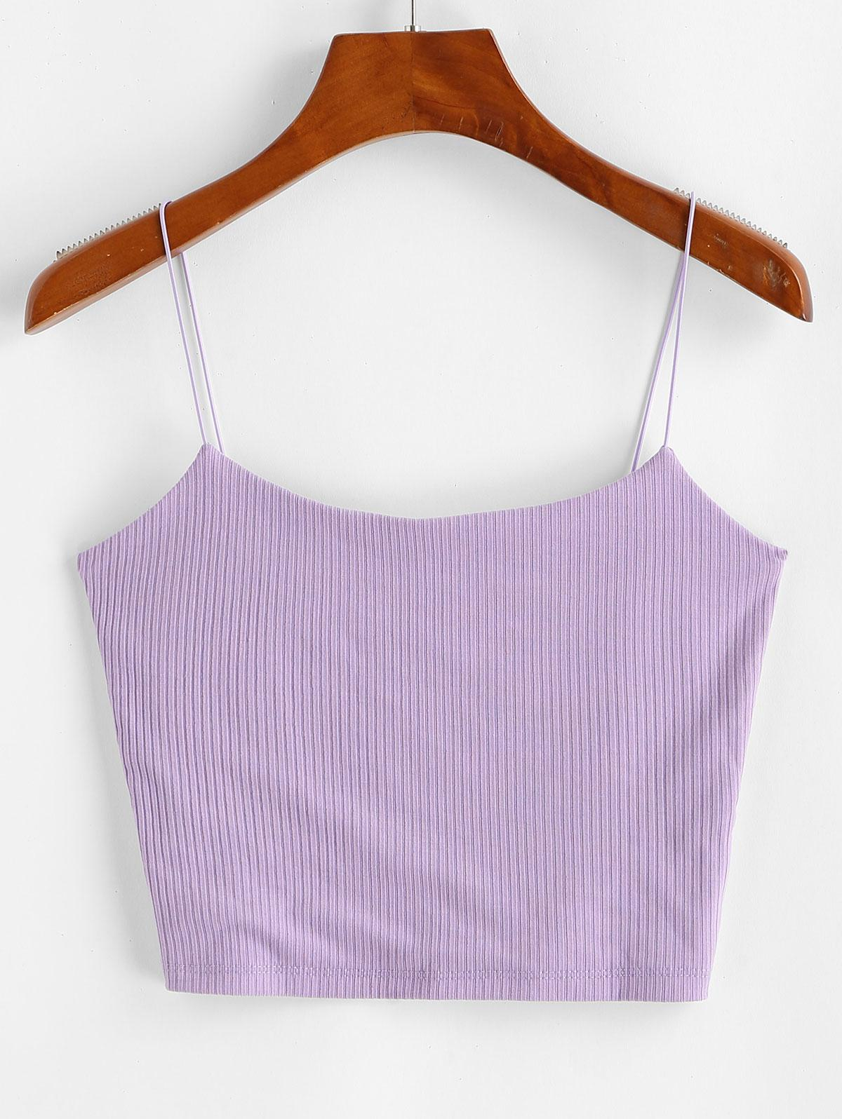 Plain Ribbed Bungee Cami Top