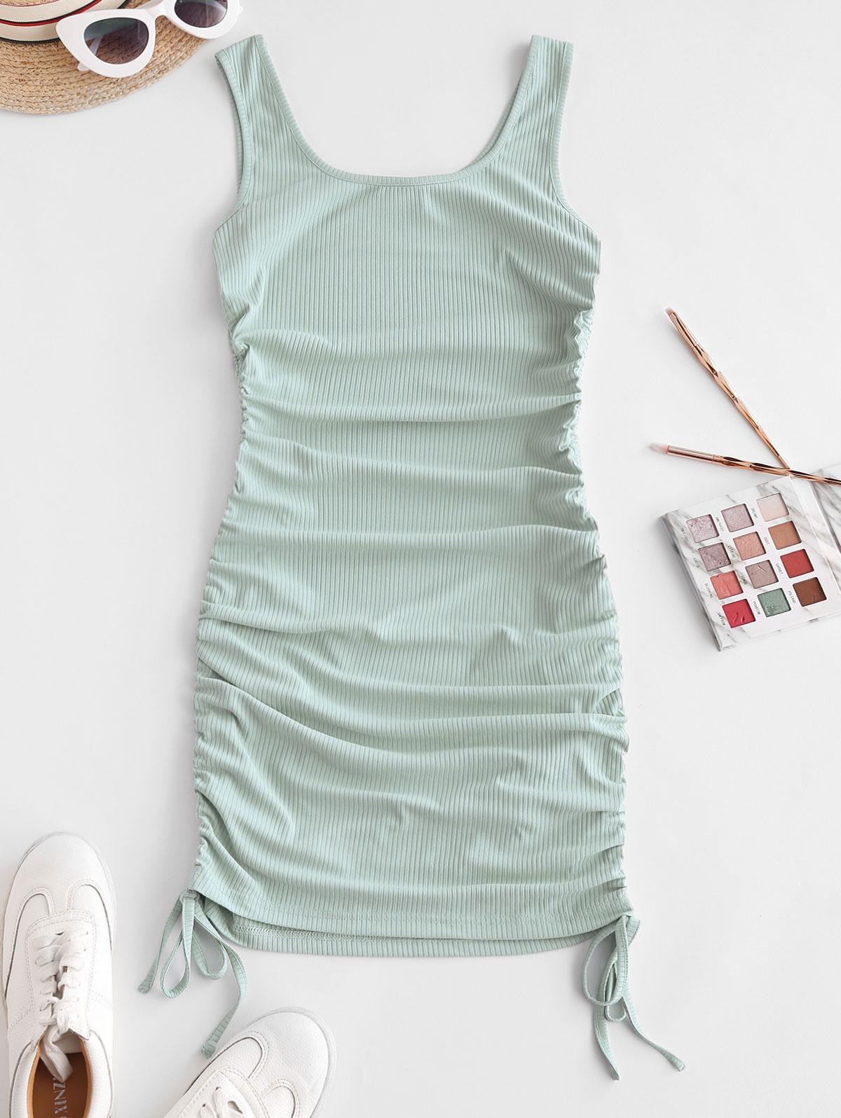 ZAFUL Ribbed Cinched Tank Dress