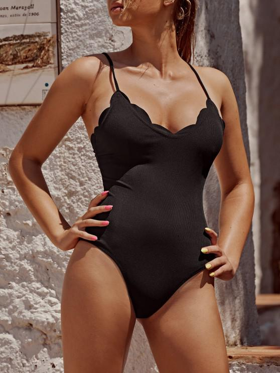 online ZAFUL Scalloped Ribbed One-piece Swimsuit - BLACK S
