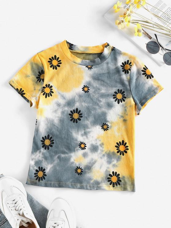 unique ZAFUL Tie Dye Flower Print Short Sleeve T-shirt - MULTI S