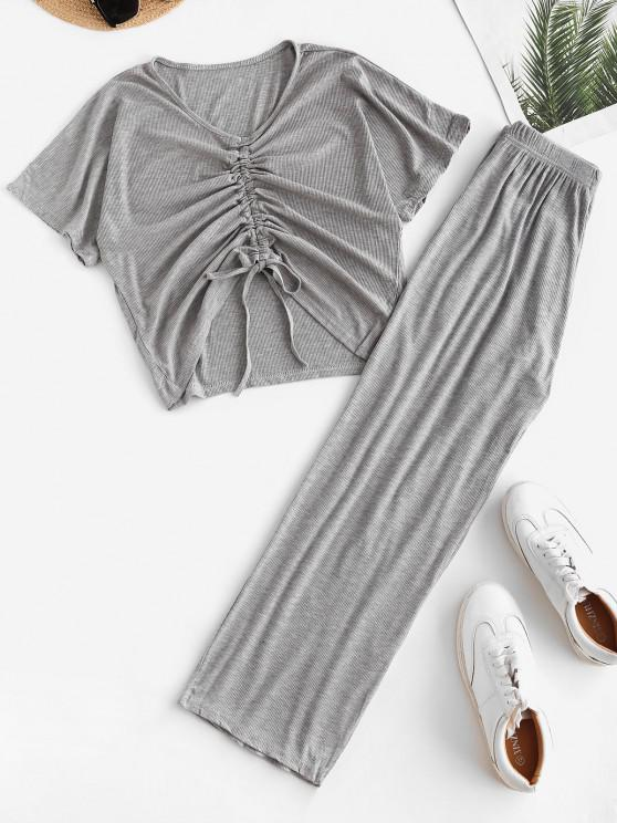 women's Cinched Ribbed Wide Leg Two Piece Pants Set - GRAY ONE SIZE