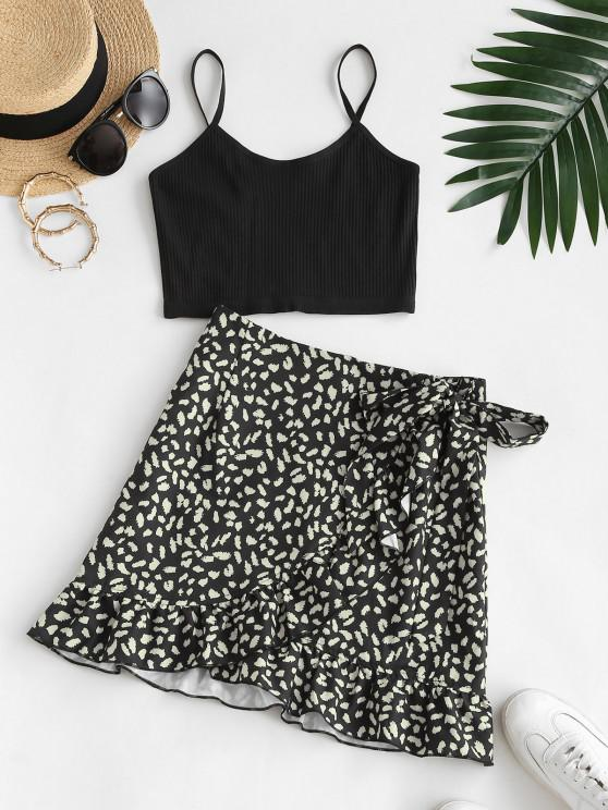 outfit Ribbed Cropped Printed Ruffles Two Piece Dress - BLACK M