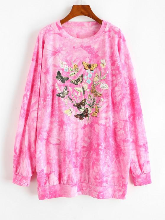 chic Tie Dye Butterfly Graphic Drop Shoulder Sweatshirt Dress - RED S
