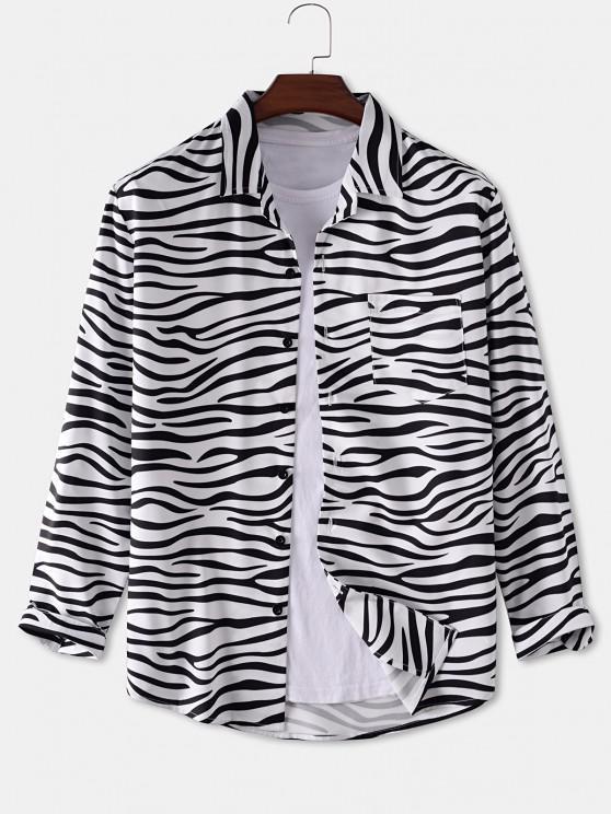 trendy Zebra Print Pocket Patch Shirt - WHITE 2XL