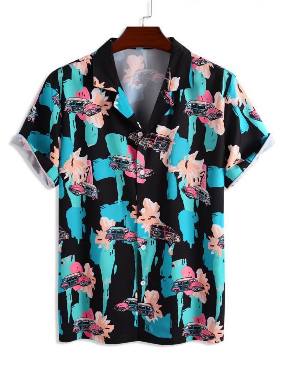 women Car And Paint Print Short Sleeve Shirt - BLUE XL