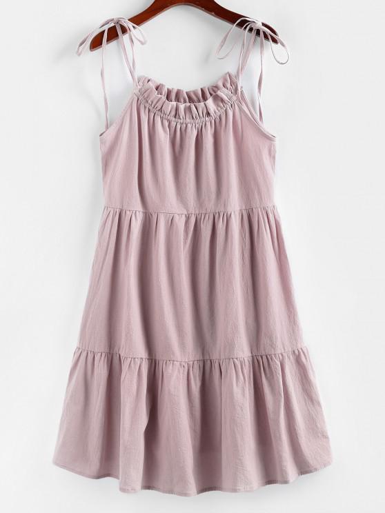 ZAFUL Robe Superposée à Bretelle Nouée à Volants - Rose Rosé M