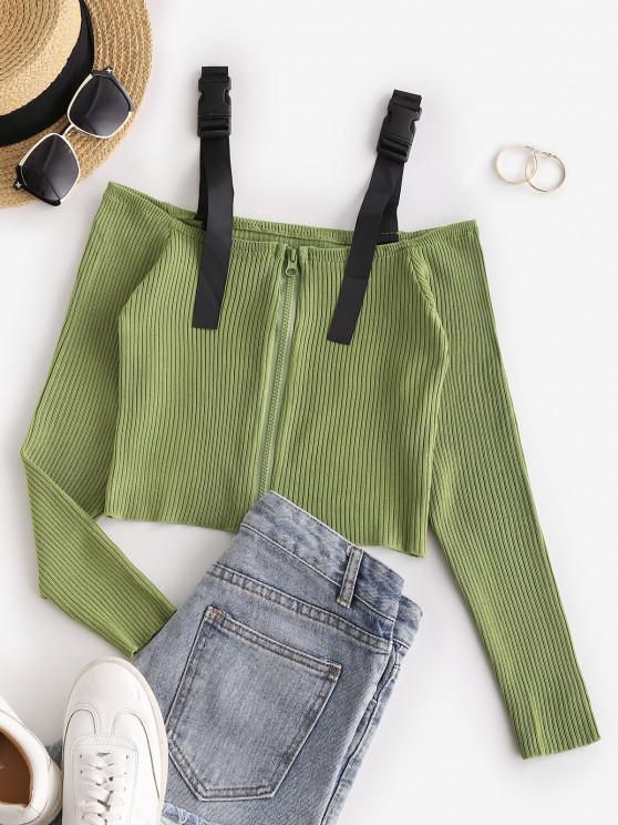 Camiseta de Ombro Aberto e Fecho de Correr - Luz verde Um Tamanho