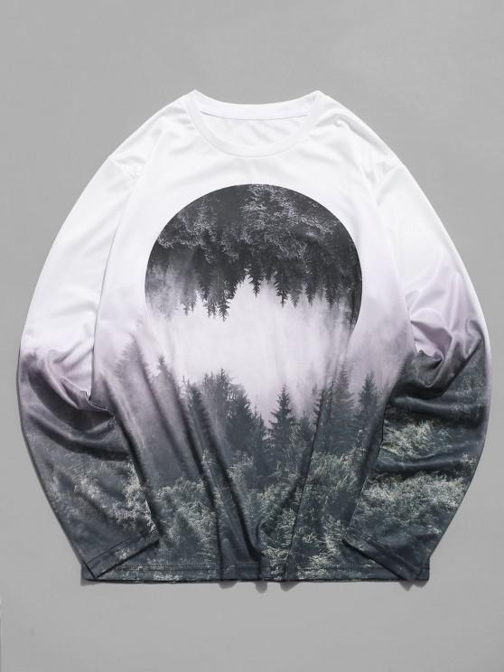 womens Reflected Forest Graphic Crew Neck Casual T Shirt - MULTI 2XL