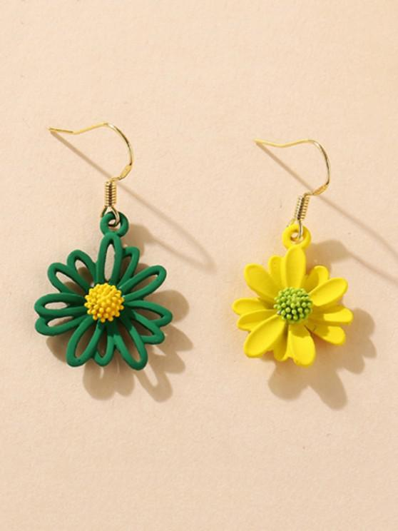 latest Daisy Floral Asymmetrical Hook Earrings - MULTI-A