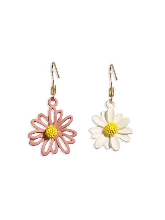 fashion Daisy Floral Asymmetrical Hook Earrings - MULTI-C