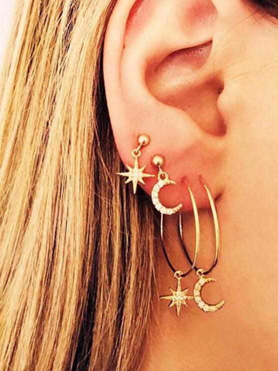 unique Rhinestone Star Moon Asymmetrical Drop And Hoop Earrings Set - GOLDEN