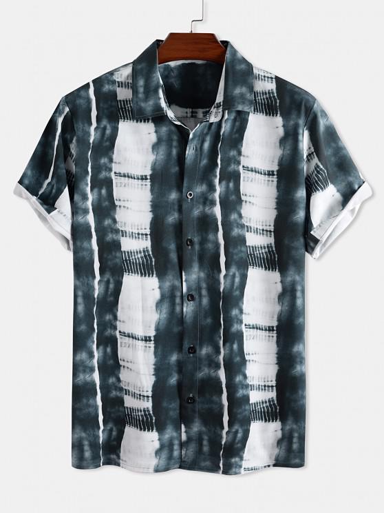 fashion Tie Dye Print Button Down Shirt - MULTI XL
