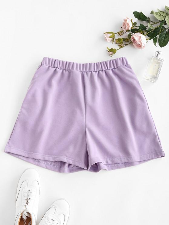 buy Pocket High Waisted Loose Shorts - LIGHT PURPLE M