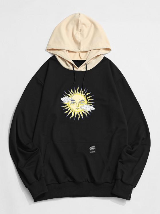 shop ZAFUL Celestial Sun Print Colorblock Hoodie - BLACK S