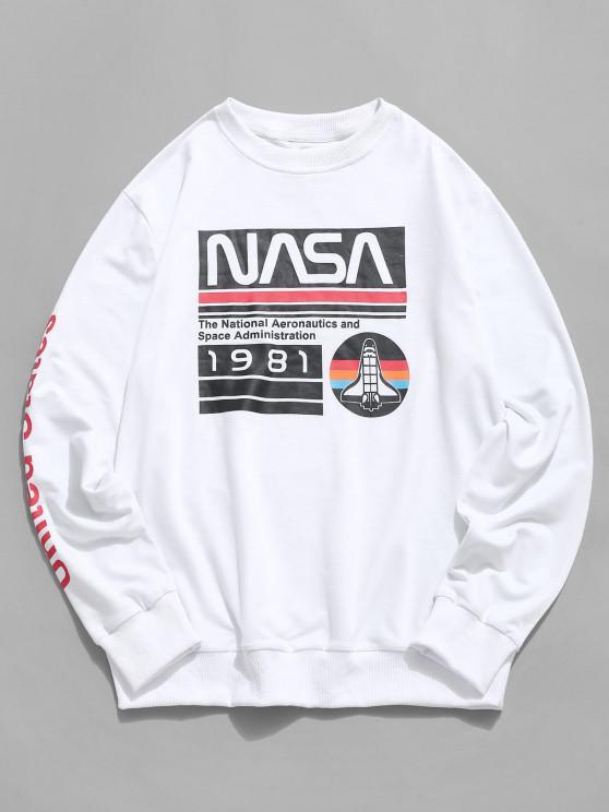fashion Rib-knit Trim Letter Graphic Print Sweatshirt - WHITE S