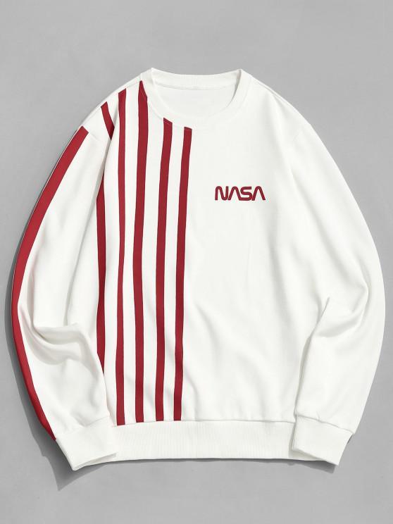 shop ZAFUL Contrast Stripes Letter Print Sweatshirt - WHITE S