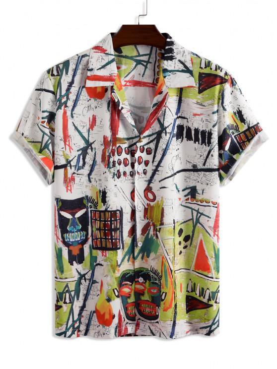 latest Button Down Graffiti Print Shirt - WHITE M