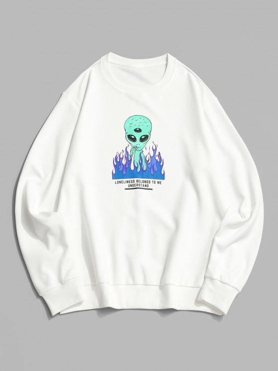 ZAFUL Fire Flame Smoking ET Letter Graphic Sweatshirt - أبيض M