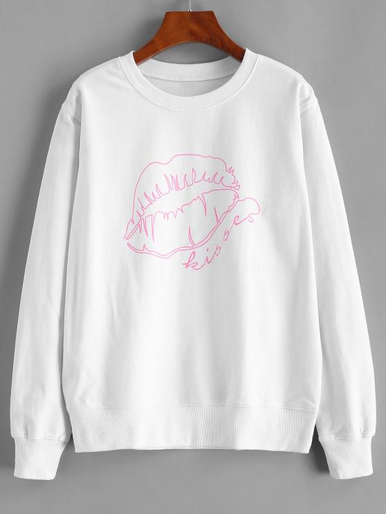 Lip Pattern Cotton Pullover Sweatshirt - أبيض L