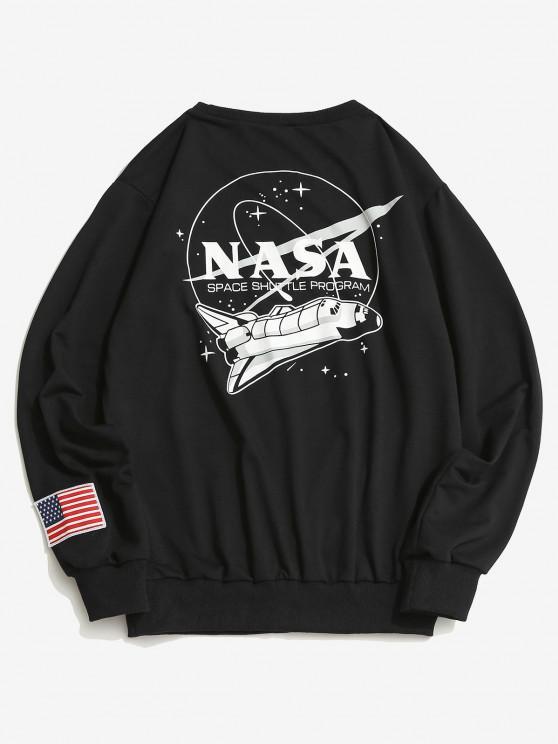 fancy ZAFUL Space Shuttle Program Graphic Sweatshirt - BLACK L
