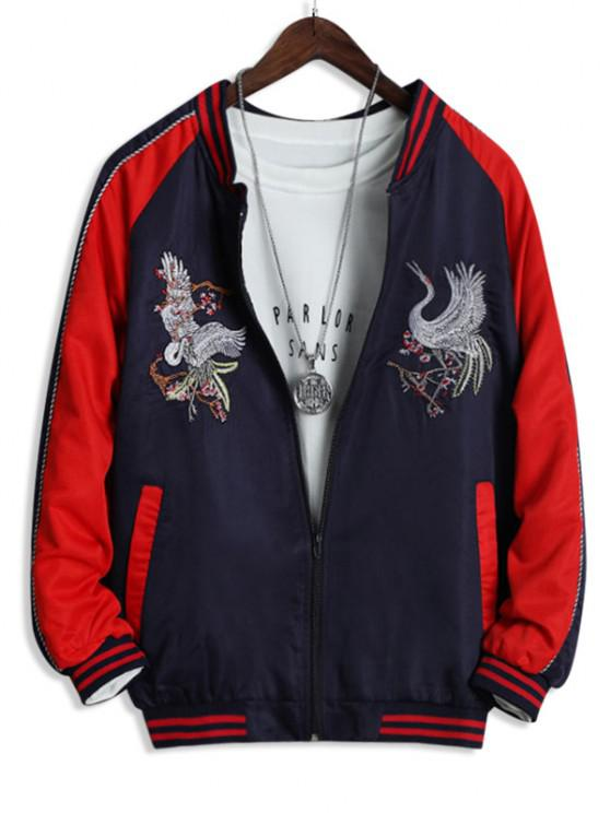 Colorblock Flying Crane Embroidery Chinoiserie Souvenir Jacket - أحمر XS