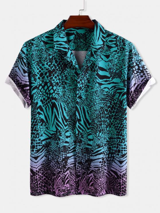 fancy Animal Print Ombre Button Down Shirt - DEEP GREEN 2XL