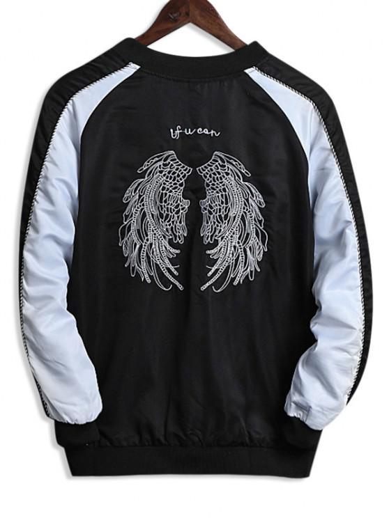 Wing Embroidery Colorblock Raglan Sleeve Souvenir Jacket - أبيض XS